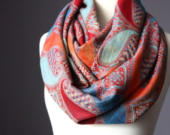 Large paisley  Infinity Scarf , Pashmina / silky Orange Blue