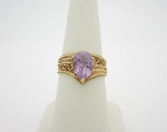 ANTIQUE FILIGREE 10k Solid Gold 1.90 ct  Vivid  AMETHYST Ring R Size 7 R144
