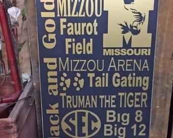 "Mizzou, Sports Decor, College Graduation Gift, ""University Of Missouri Tigers"" 12""x24"" Wood Sign, College Art, Mizzou Tigers Decor"