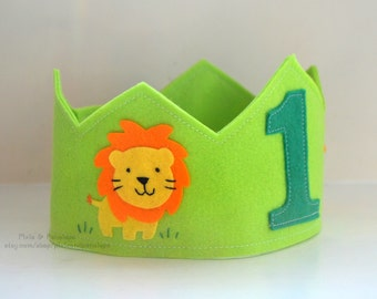 Lion Crown Birthday Crown Safari Felt Crown Zoo Crown Circus Boy Birthday First Birthday