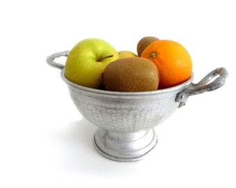 Vintage Aluminum Fruit Bowl - Mid Century Italian Pedestal Bowl with Handles - Tray, Serving Centerpiece, Fruit Basket - 1950s