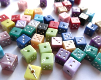 25 Mixed Color Acrylic Cube Square Dice Beads with Silver Dots 7x8mm