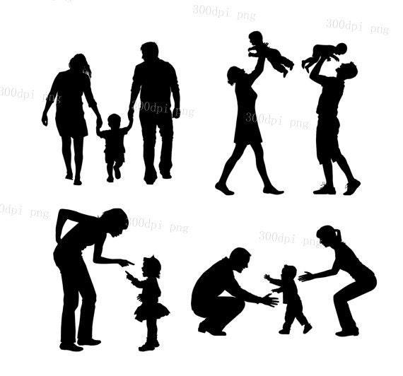 famille silhouette num u00e9rique cliparts vecteur eps png fichiers Printable Family Reunion Tree family reunion tree clip art
