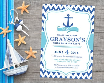 Chevron Nautical Anchor Birthday Party Or Baby Shower Invitation, Custom  Personalized Ocean Sea Part 30