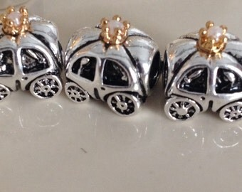 925 Sterling silver Plated  Cinderella's pumpkin carriage european screw on type charm.