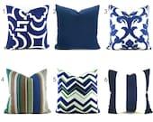 Outdoor Pillows Outdoor Pillow Covers Decorative Pillows ANY SIZE Pillow Cover Navy Outdoor Pillows Outdoor Navy Blue You Choose