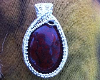 Red Jasper Fine Silver Wire Wrapped Pendant