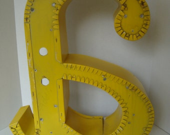 """Vintage Yellow  Reverse Channel Letter """"A"""""""