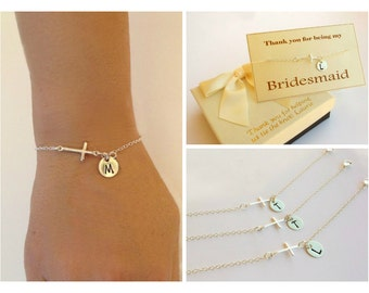 Free Shipping. Set of 3 Personalized sterling silver sideways cross bracelets. bridesmaids  Sterling silver Jewelry, , monogram bracelet