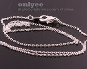 4pcs- 16inch Rhodium Plated solid brass 0.65mm thickness Chain for beads with Lobster Clasp (N134S)