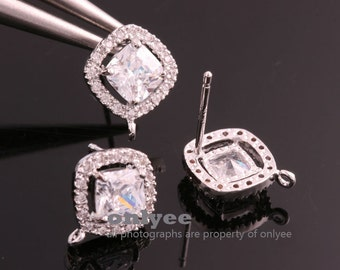 1pair/2pcs-10mm Rhodium Plated over Brass CZ diamond Stud Cubic zirconia earring, 925 sterling silver post Earring Findings(K805S)