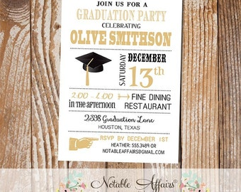 Black and Tan Gold Modern Graduation Party Senior Graduation College Graduation Party Invitation - Choose your accent color