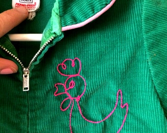 Vintage Sears cord, green with pink chicken baby jumper/ spring outfit/ easter suit /one piece/ bodysuit/track suit Size 6M