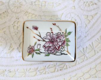 SALE 50 OFF Vintage Trinket Box Porcelain Lavender Gold Floral Jewelry Box