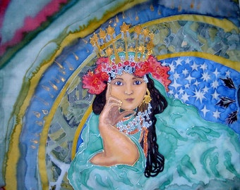 Handpainted Art Nouveau Silk Original batik  female portrait Princess  Hyacinth /A.Mucha motives/.