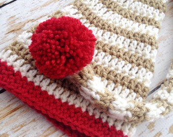 Long Tail Crochet Elf Hat - Christmas Crochet Hat - Crochet Elf Hat - Crochet Elf Hat, Christmas Long Tall Elf Hat, Christmas Elf Hat