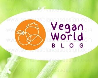OOAK Premade Logo Design - Fruit Doodle - Perfect for a vegan food blog or a clean eating shop
