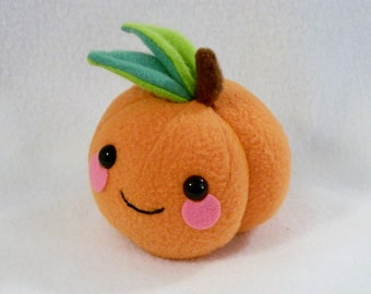 Pretend food peach nectarine plush toy embroidered leaves