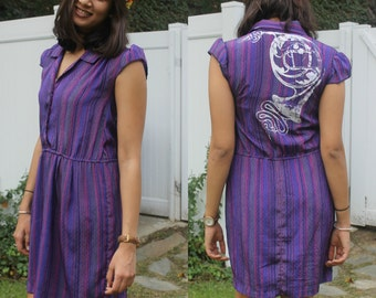 Purple Striped Collared Button-Up Tailored Dress (French Horn Design on back)