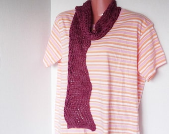 Knit Summer Scarf Lightweight Zigzag Rose Pink
