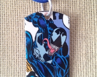 Venom Upcycled comic book dog tag, includes necklace or keychain