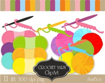 Crochet Hook Yarn Pink Purple Yellow Orange Blue Green Clipart 20 ClipArt Images for cards, scrapbooking  - instant download - CU OK