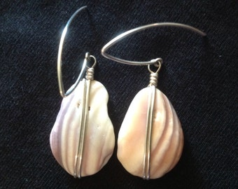 Seashell and Sterling silver earrings. Hangs 2 inches.