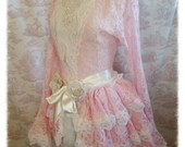 Bustle Skirt Lolita  Victoriana  Vintage Pink OPHELIA Vintage Lace Victorian Decadence Lolita By Ophelias Folly