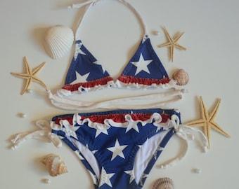 Baby girl swimsuit-American Flag baby girl bikini set 2 pieces -American Flag girls bikini -Children swimwear -July 4th swimwear