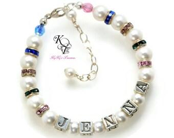 Little Girl Jewelry, Personalized Bracelet, Baby Bracelets, Personalized Gifts for Girls, Rainbow Bracelet, Rainbow Jewelry