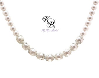 Bridal Jewelry Pearl Bridal Necklace Wedding Jewelry Prom Jewelry FREE Gift Box Pearl Necklace Bride Bridal Shower Gift Anniversary Gift