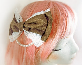 Brown Lolita Bow Mini kawaii cute hair clip sweet classic victorian fashion