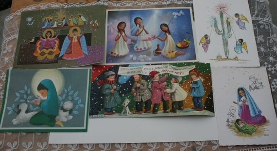 Items similar to vintage mexican christmas cards used for Mexican christmas crafts for kids