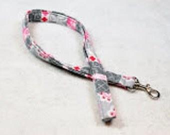 Lanyard, teacher lanyard, Cute Lanyard, Key Lanyard, Badge Lanyard neck strap, lanyard necklace, Landyard Id Badge, id holder-Floral Stripe