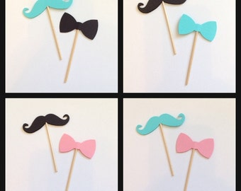 Gender reveal. Mustache & Bow Cupcake Toppers - Party Supplies - Baby Shower - Little Man - Gender Reveal- Mustache birthday cupcake toppers