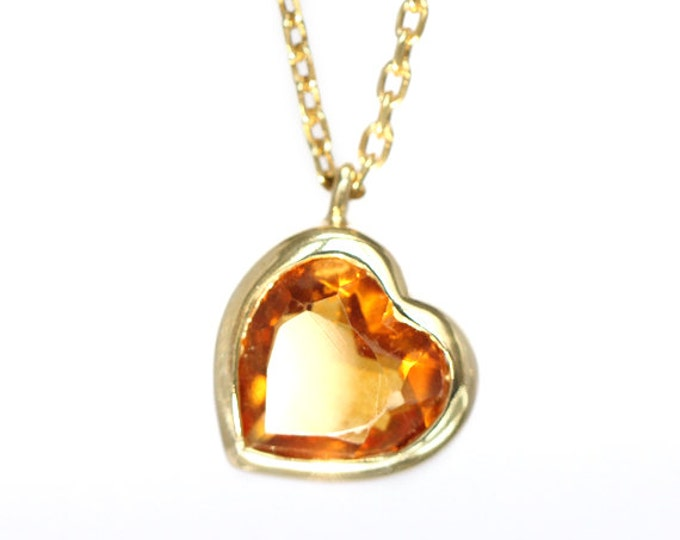 Citrine necklace - november birthstone - 18 ct yellow gold plated - size 54 cm - ready to ship