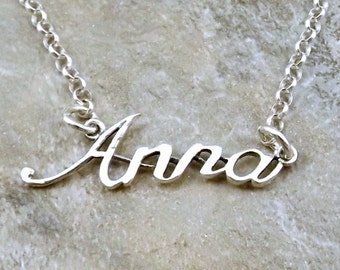 Sterling Silver Name Necklace -Anna - on Sterling Silver Rolo Chain in Length of Choice -0836