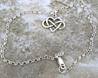 Sterling Silver Infinity Heart (Everlasting Love) Charm on a Sterling Silver 3mm Rolo Bracelet - 1419