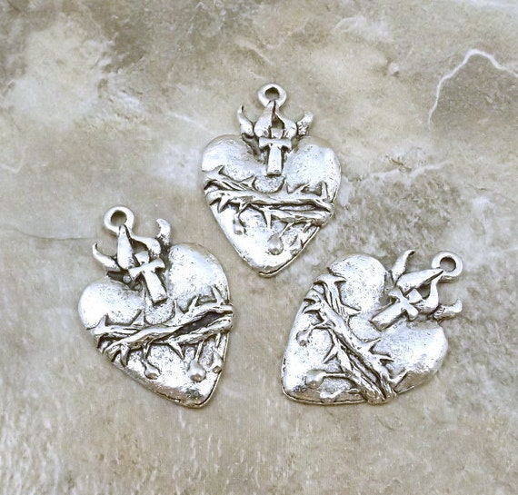 Three (3) Pewter Sacred Heart Charms - 1898