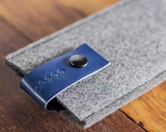 Leather iPhone 7 case, iPhone 6 Sleeve, Felt iPhone 6s Pouch / iPhone 6s Sleeve : Grey Felt Blue Leather