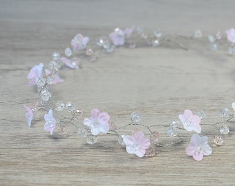 Bridal Hair Accessories, Bridal white pink flower crown, tiny flower Hair Wreaths ,wedding crystal tiara, wedding hair, Bridal Halo