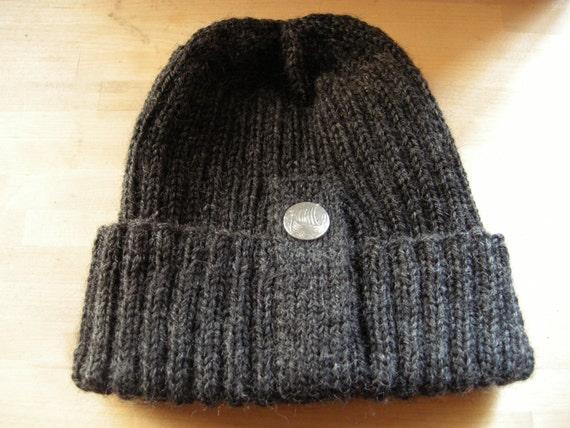 Fisherman beanie - fisherman's hat - wool beanie - wool hat - handknit beanie -winter hat - adult beanie - grey  gray - unisex ribbed beanie