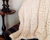"Luxurious & Soft Hand Knit Blanket Throw - 40"" x 60"" wool blend natural cream (off-white) afghan - big loop chunky - bulky yarn"