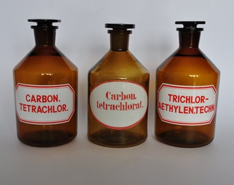 SALE One XL Vintage German Apothecary Bottle with Original Label. Brown Glass.  Red Letters.