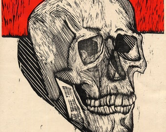 Hand-Pulled Woodcut Skull #16