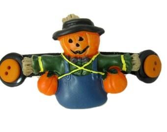 Scarecrow Hair Clip, Halloween Barrette, Fall hair Accessory, Halloween Hair Clip, Scarecrow Barrette
