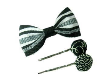 Black and White Hair Pins, Gift Set of 3, Retro Hair Bobby Pins, Hair Bow Clip for girls, teens, women