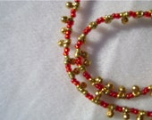 Girl's Red And Gold Bauble Necklace, OOAK, Vancouver Etsy Necklace, Hanging Bauble Bed Necklace, Handmade Necklace