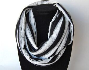 Infinity Scarf Jersey Knit Black + White Stripes