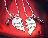 Swole Mates Necklace, Set of 2, Weightlifting, Bodybuilder, Fitness Necklace, Fitness Motivation, Exercise Jewelry, SwoleMates, Dumbbell